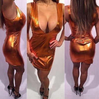 Connie's Deep Plunge Metallic Rust Club Mini Dress with Zip back Closure  L
