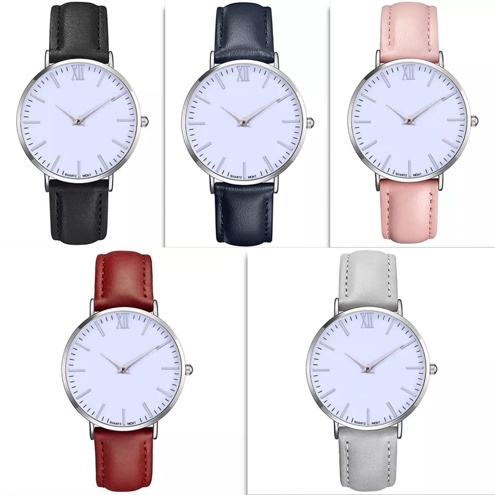 Schlichte Armbanduhr Uhr Damenuhr silber rosa weiß schwarz dunkelblau grau rot