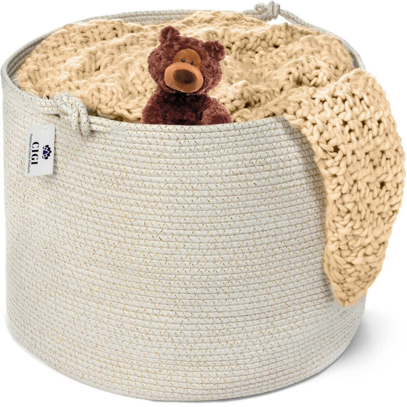 Extra Large Cotton Rope Basket, Neutral White and Gold Hampe