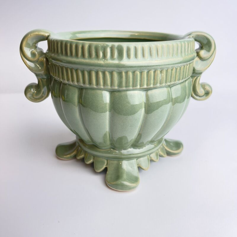 Vintage Green Ceramic Planter Scrolls Footed Signed 5x7 Indoor Outdoor Flowers