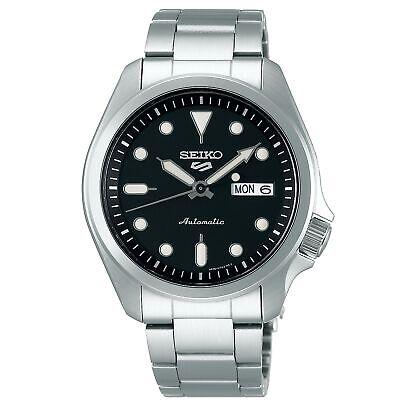 Seiko 5 SPORTS Esfera Negra Acero Plateado Pulsera Reloj Hombre SRPE55K1
