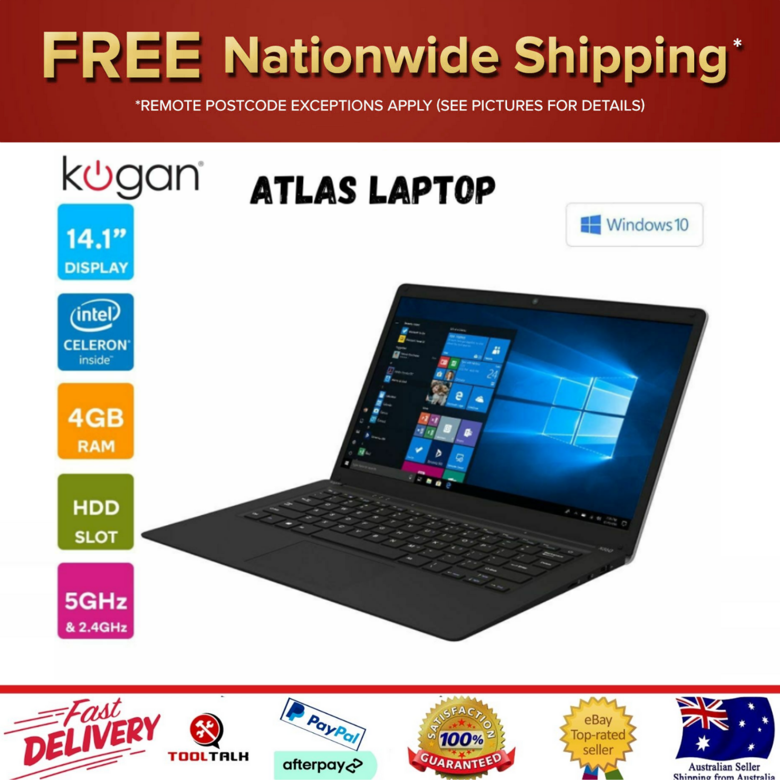 "Laptop Windows - Kogan Atlas 14.1"" Laptop with Windows 10 Pro WiFi Bluetooth 4GB RAM USB N360 New"