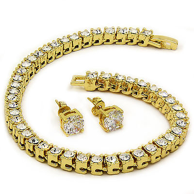"""Men's 14k Gold Plated Iced Out 8.5"""" 1 Row Fully Cz Hip-Hop Bracelet Free Earring"""