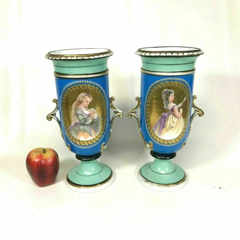 "Pair of 12"" Early 19th Century English Porcelain Urn Vases"