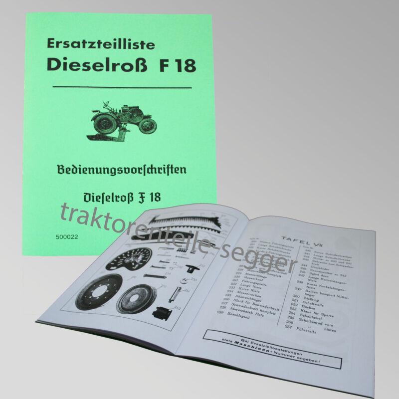 Fendt Ersatzteilliste und Bedienungsvorschriften für Dieselroß F 18 500022 Foto 1