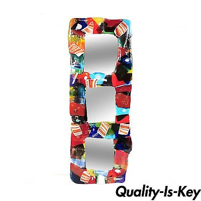 33 x 12 Art Glass Rainbow Mosaic Triple Molten Candy Color Wall Mirror - Art Glass Contemporary Mirror