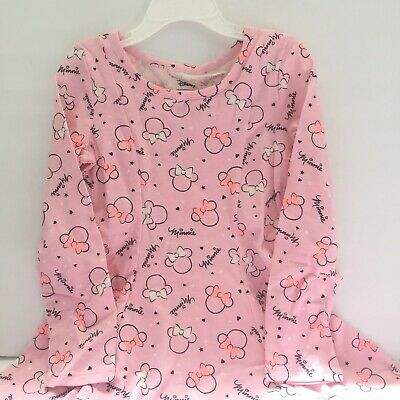 Disney Girls 4 Dress Minnie Mouse Pink Cotton Long Sleeve New - Minnie Mouse Pink Dress