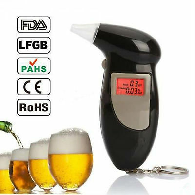 Digital Alcohol Breath Tester Breathalyzer Analyzer Detector Test Keychain BL FI