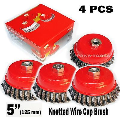 4 Pcs 5 X 58 Knot-type Fine Wire Cup Brush Fits 4-12 Angle Grinder