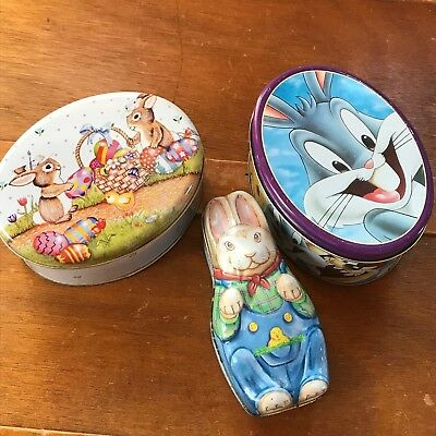 Estate Lot of 3 Small Oval Easter Rabbit & Looney Toons Bugs Bunny Metal Tin Can