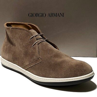 Armani ITALY Men's 13 Brown Tan Suede Leather Ankle Fashion Desert Boots X2M049