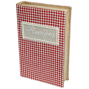 dotcomgiftshop WOODEN RECIPE BOOK BOX WITH GINGHAM FABRIC COVER
