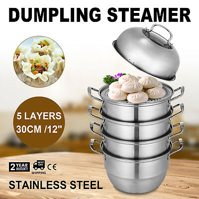 Stainless Steel 5 Tier Steamer Cooking Food Stock Steam Pot Cookware 30cm/11.8''