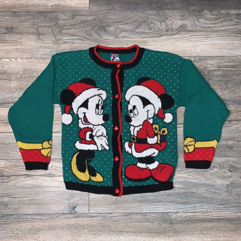 Vintage 90s Kids Disney Mickey Minnie Mouse Christmas Sweater Youth Large Vtg