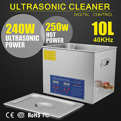 New Stainless Steel 10 L Liter Industry Heated Ultrasonic Cleaner Heater Wtimer