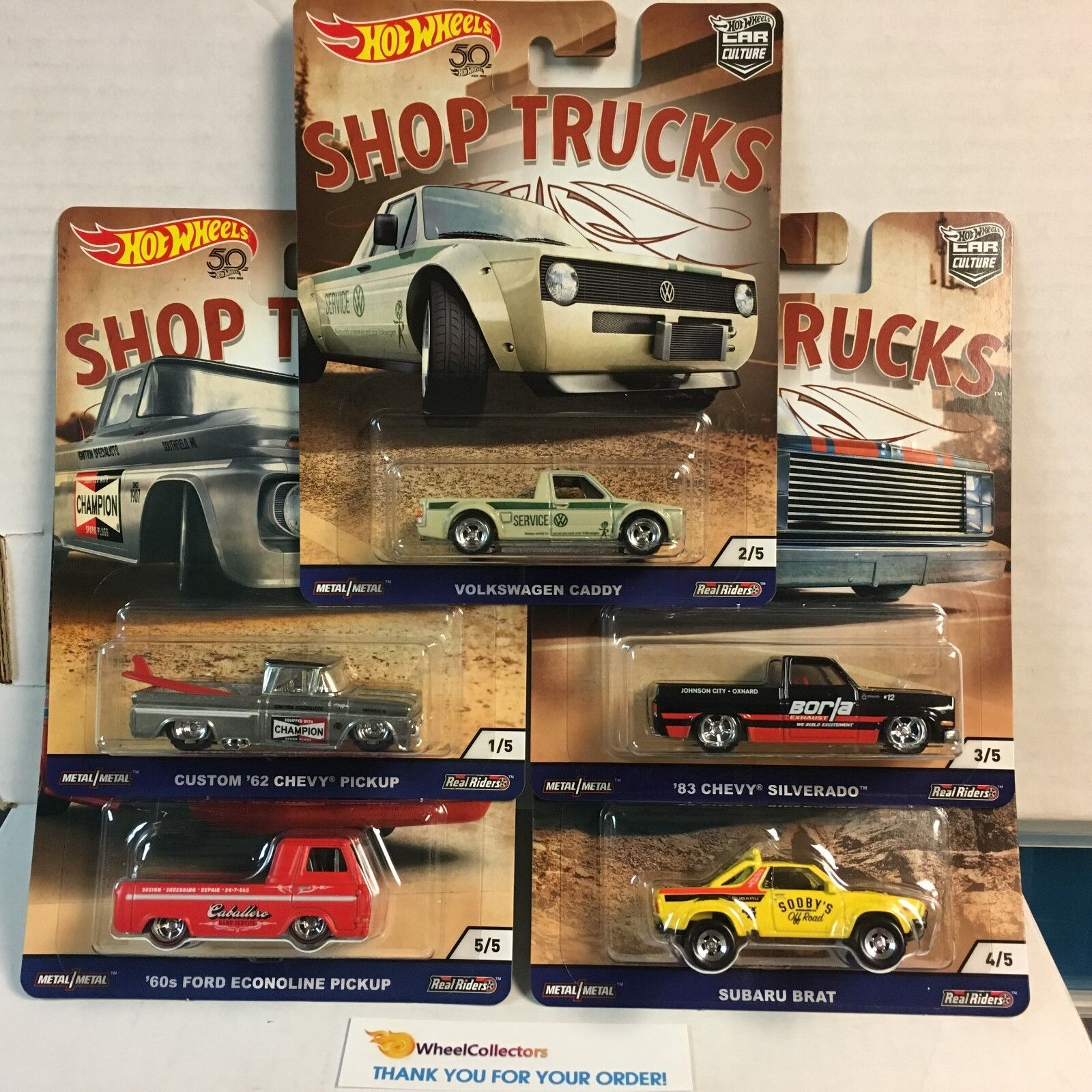 SHOP TRUCKS * 5 Car Set * 2018 Hot Wheels Car Culture D Case Silverado, 62 Chevy