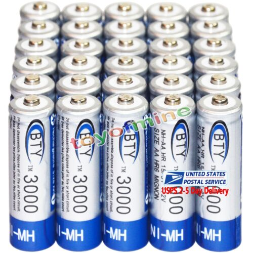 30PC AA 2A battery batteries Bulk Nickel Hydride Rechargeabl