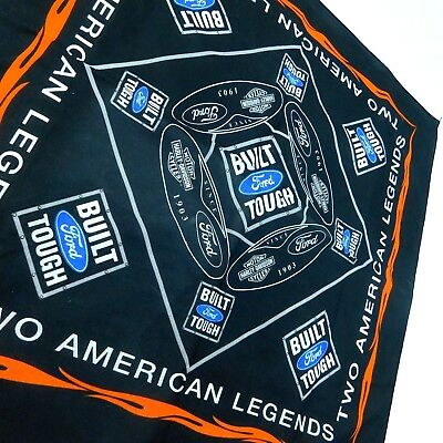 "Ford Harley Davidson American Legends Bandana Built Tough 21"" x 21"" Motorcycle"