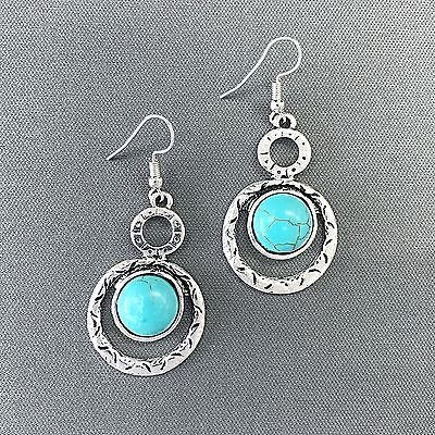 Bohemian Silver Finish Hammered Double Ring Turquoise Stone Drop Dangle (Turquoise Stone Drop)