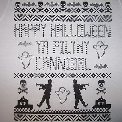 womens happy halloween ya filthy cannibal t shirt funny costume idea cute zombie