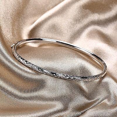 PT950 Pure Platinum 950 Men Women Amazing Fashion Bangle Bracelet / 7.6-7g