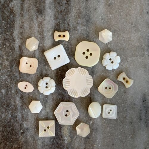 Set of 18 MOP Buttons Carved Shell Pretty Shapes Flower Bowtie Square Hexagon