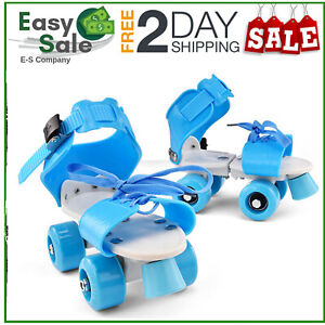 Kids Adjustable Size 4Wheel Quad Roller Skates Boots Double RoW Children Rollers