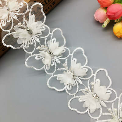 1 yard Butterfly Flower Diamond Lace Trim Wedding Dress Hat Fabric Ribbon Sewing Diamond Trim