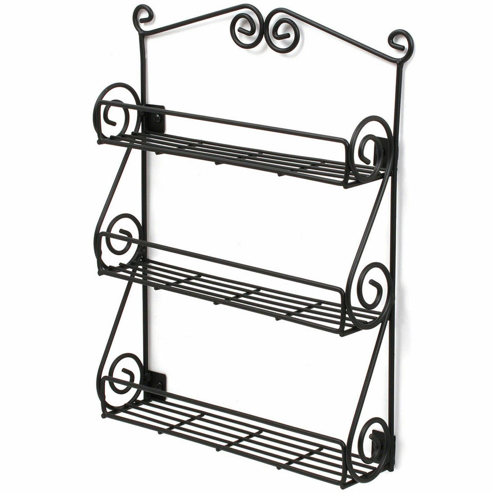 Home, Furniture & DIY New WLR01 Metal Wall Mountable Black Scroll Kitchen Spice Rack