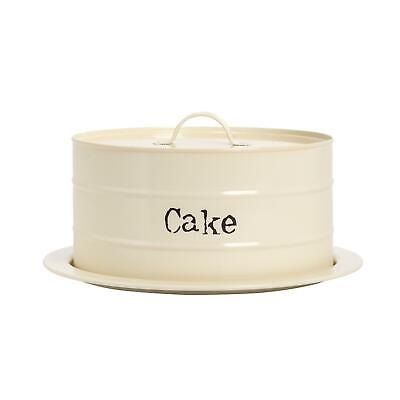 Cake Plate with Dome Lid Vintage Metal Kitchen Storage Stand 27cm Cream