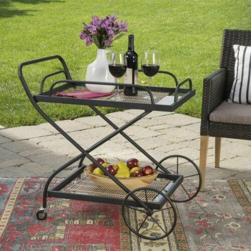 India Outdoor Traditional Black Powder Coated Iron Bar Cart with Tempered Shelve Bar Carts & Serving Carts