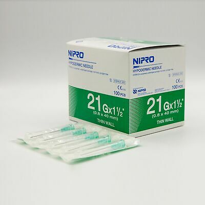 Nipro Hypodermic Needle 21g X 1.5 08 X 25 Mm. Thin Wall Box 100 Pcs New