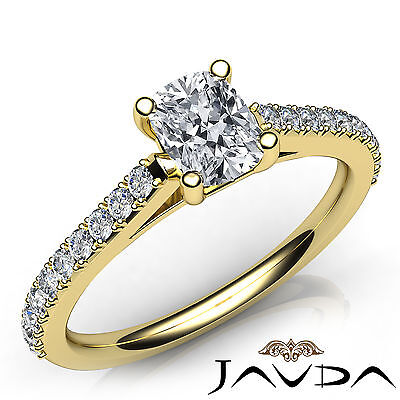 Double Prong Set Cushion Cut Diamond Engagement Cathedral Ring GIA H VS2 0.75Ct