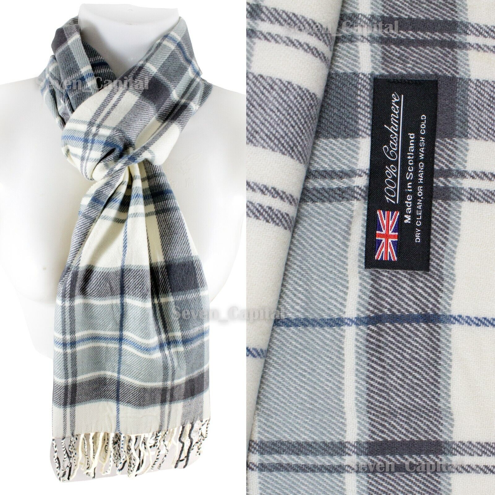 Mens Womens Winter Warm SCOTLAND Made 100% CASHMERE Scarf Scarves Plaid Wool 33. Plaid: Grey/White