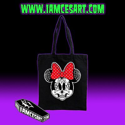 Minnie Mouse Day of the dead Sugar Skull Dia De Los Muertos Black Tote Bag - Dead Minnie Mouse