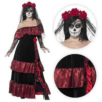 Damen Tag der Toten Totenkopf Skelett spanisch mexikanisch Braut Maskenkostüm
