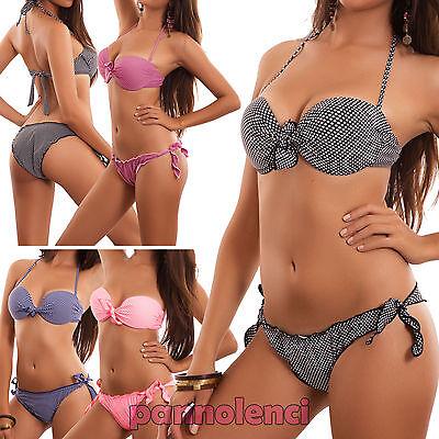 Bikini donna costume da bagno mare ferretto POIS imbottito due pezzi nuovo B4319