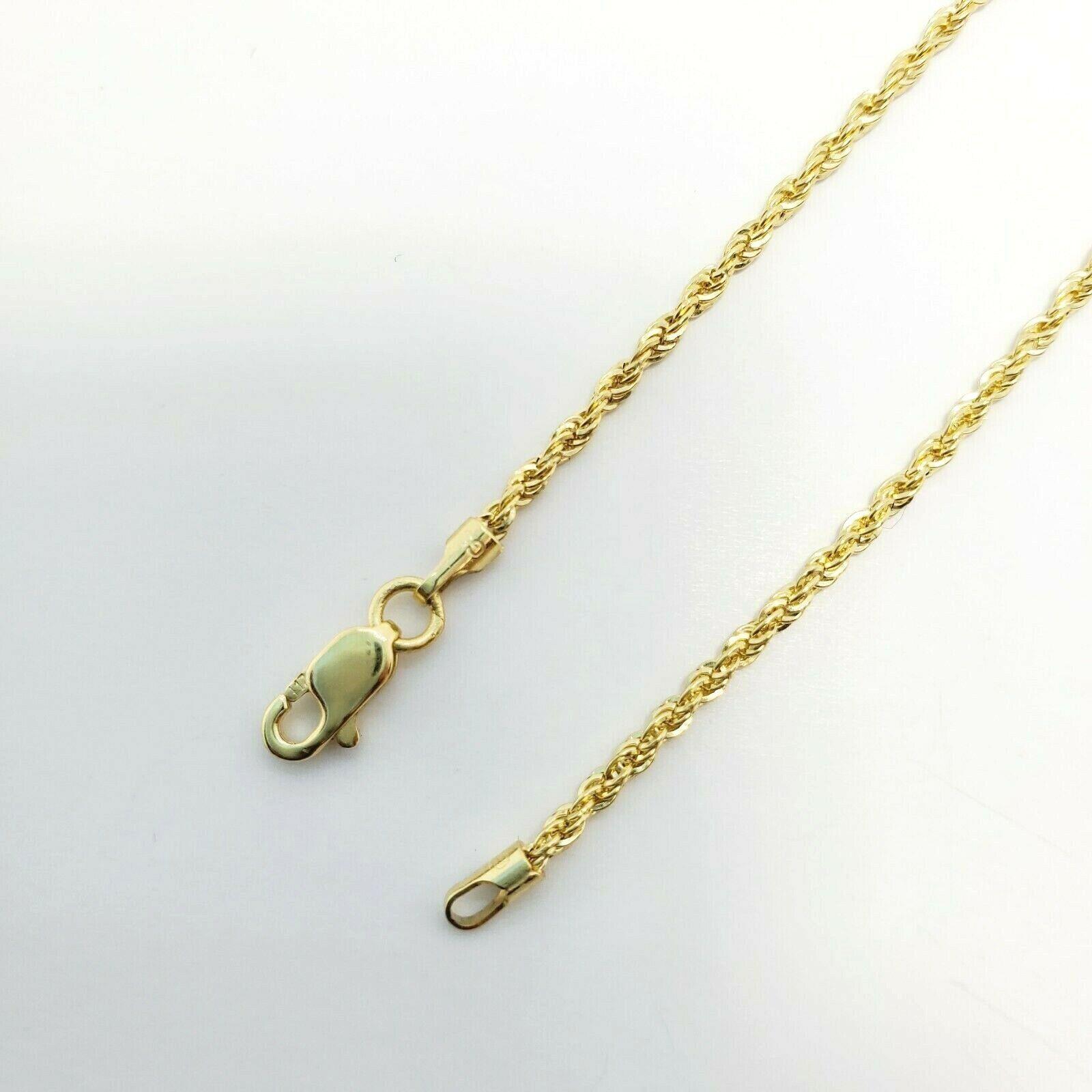 "10K Yellow Gold 1.5mm Diamond Cut Rope Chain Pendant Necklace Mens Women 16""-26"" 5"