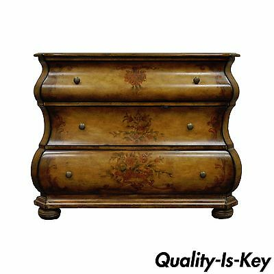 - Paint Decorated Bombe Form Commode Bachelor Chest Console Table Dresser Stand