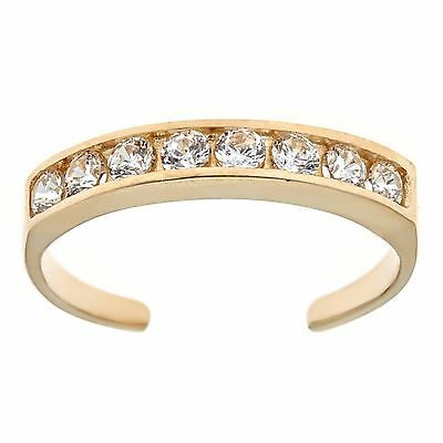 10k Solid Gold Eternity Band Cz Toe Ring Channel Set Adjustable Body Jewelry