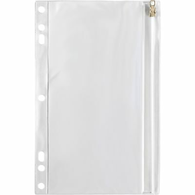 - Business Source Ring Binder Pockets w/Zipper Plastic 7HP 9-1/2