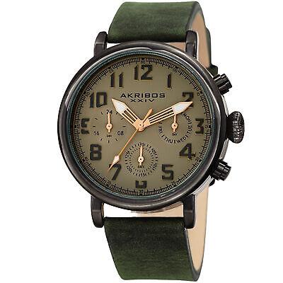 Men's Akribos XXIV AK1028GN Chronograph Beige/ Olive Green Leather Strap Watch