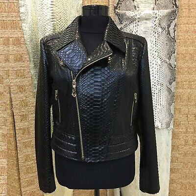 Women's Genuine Python Leather Exotic Skin Black Luxury Motorcycle Biker Jacket