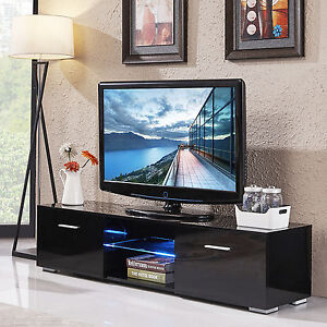 High Gloss LED Shelves TV Stand Unit Cabinet 2 Drawers Console Furniture  Black