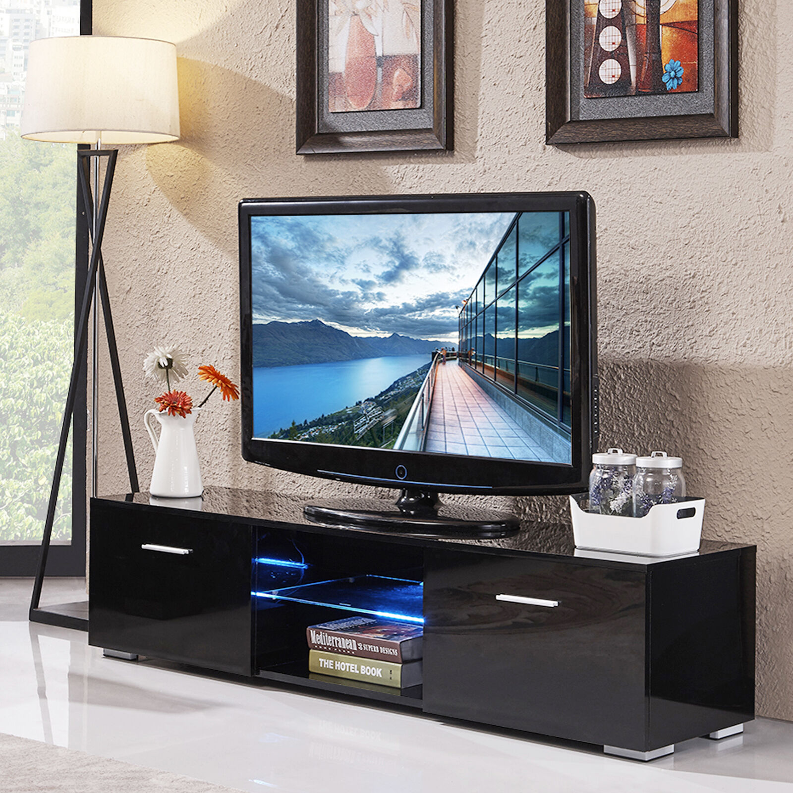 Black High Gloss Tv Stand Unit Cabinet Console Furniturew Led Shelves 2 Drawers