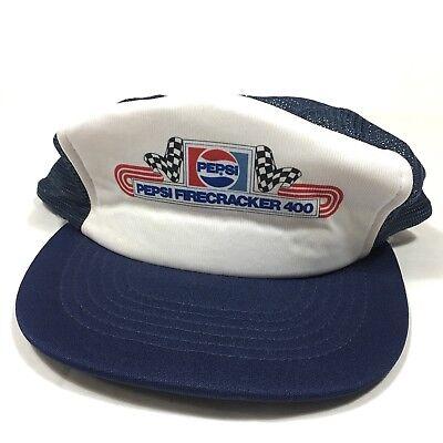 - Rare Vintage 80's Pepsi Firecracker 400 NASCAR Racing Mesh Trucker Hat Snapback