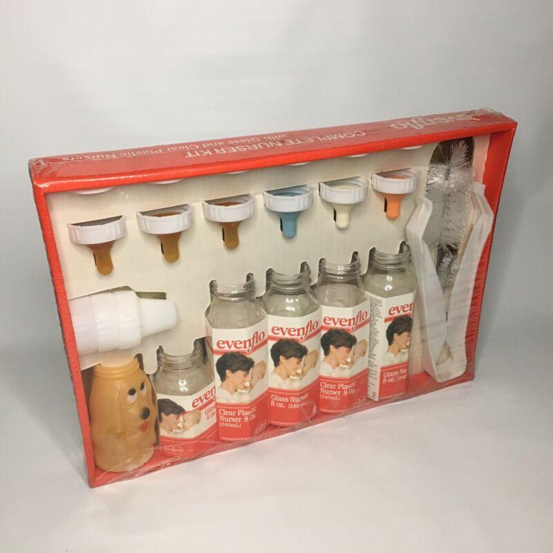 EVENFLO Vintage 1986 New Complete Nurser Nursing 3 Glass, 2 Plastic 1 Dog Bottle