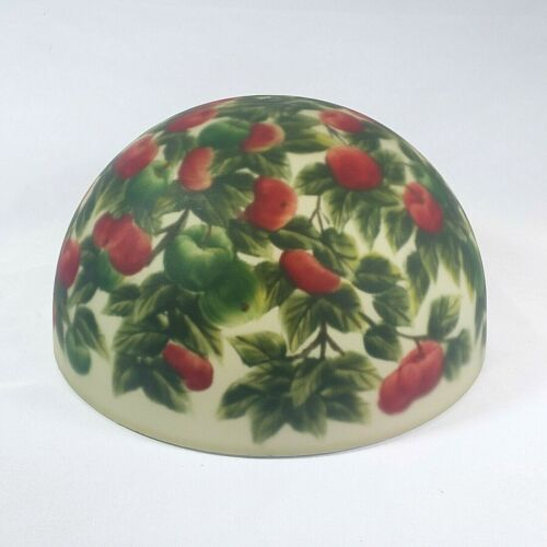 """Vintage Reverse Painted Lamp Shade Green Red Apples Floral 10"""" No Top Hole MINT"""