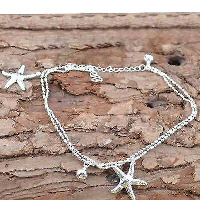 Women's Silver Plated Starfish Ankle Bracelet Anklet Jewelry NEW