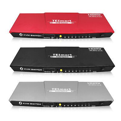 TESmart 4-Port KVM HDMI Video Switch – 4K 60hz UHD – Audio Output, USB Sharing Hdmi 4 Port
